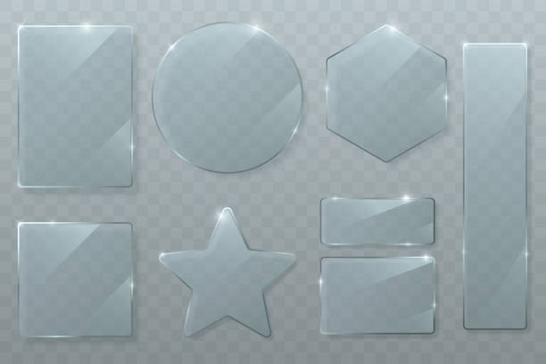 bildbanksillustrationer, clip art samt tecknat material och ikoner med vektor glas plattor som isoler ats på transparent bakgrund. glansigt textur av klart glas med ljusa höjd punkter. cirkel, kvadrat, romb, rektangel och stjärna. transparenta banners. eps 10. - glas