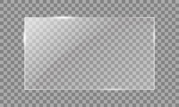 vector glass rectangle on a transparent background. transparent mirror, realistic glare window. - błyszczyk stock illustrations