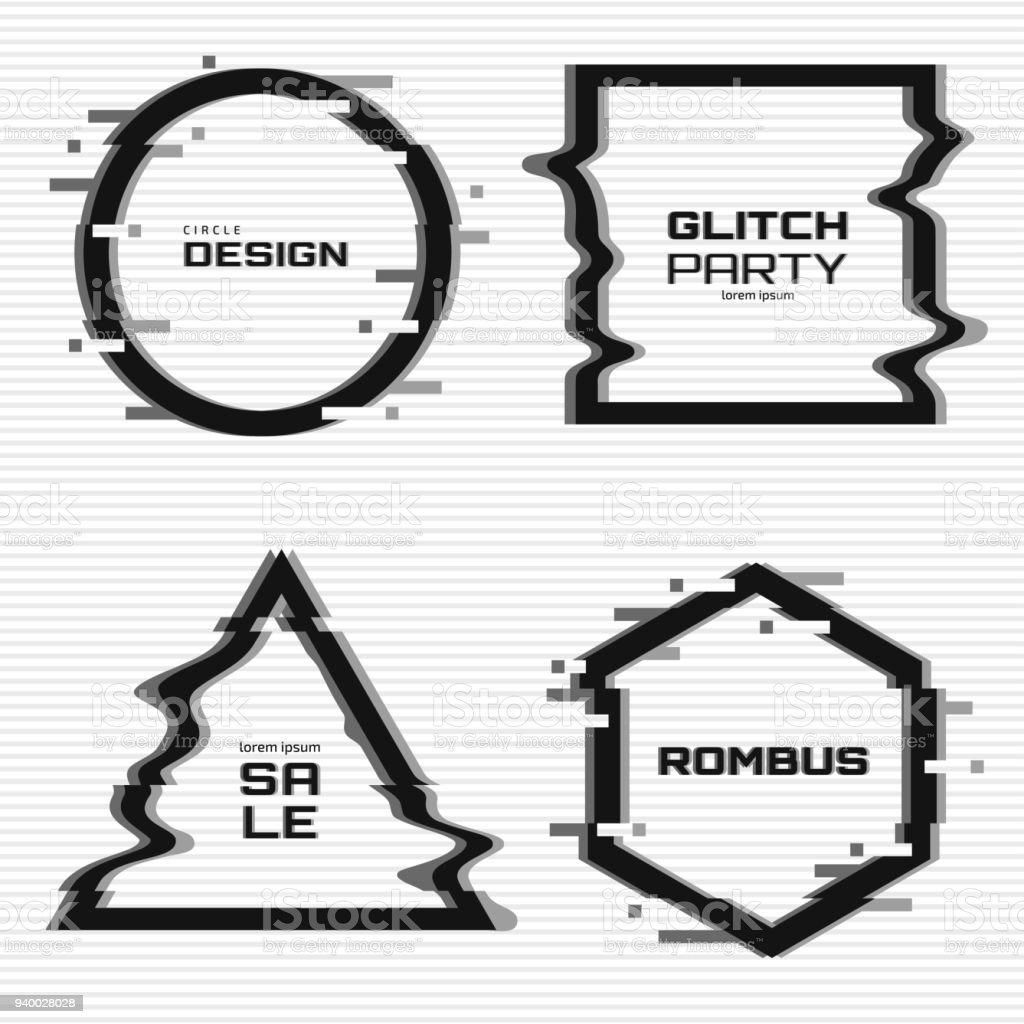 Vektorglitchrahmenset Schwarz Weiß Geometrische Formen Mit ...