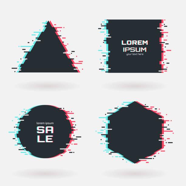 stockillustraties, clipart, cartoons en iconen met vector glitch frames instellen. geometrische vormen met tv-vervorming effect. cirkel, driehoek, rhombus en vierkant met vhs glitch textuur. toepasbaar voor banner ontwerp, uitnodiging, party flyer etc. - verlegenheid