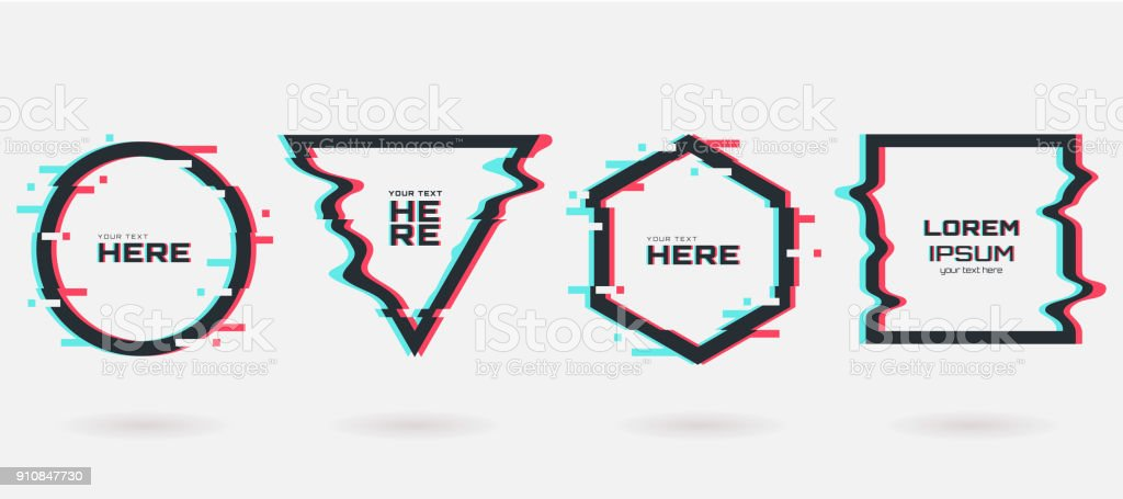 Vector glitch frames set. Geometric shapes with Tv distortion effect. Circle, triangle, rhombus and square with vhs glitch effect. Applicable for banner design,invitation, party flyer etc. vector art illustration