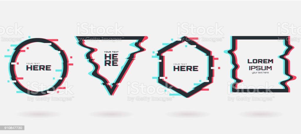 Jeu d'images vectorielles glitch. Formes géométriques avec effet de distorsion Tv. Cercle, triangle, losange et carré avec effet de glitch vhs. Il y a lieu pour la conception de bannière, invitation, flyer etc. de la partie. - Illustration vectorielle