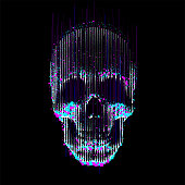 Human skull front view, enlightened from under, made by vertical lines and color particles and pixels.