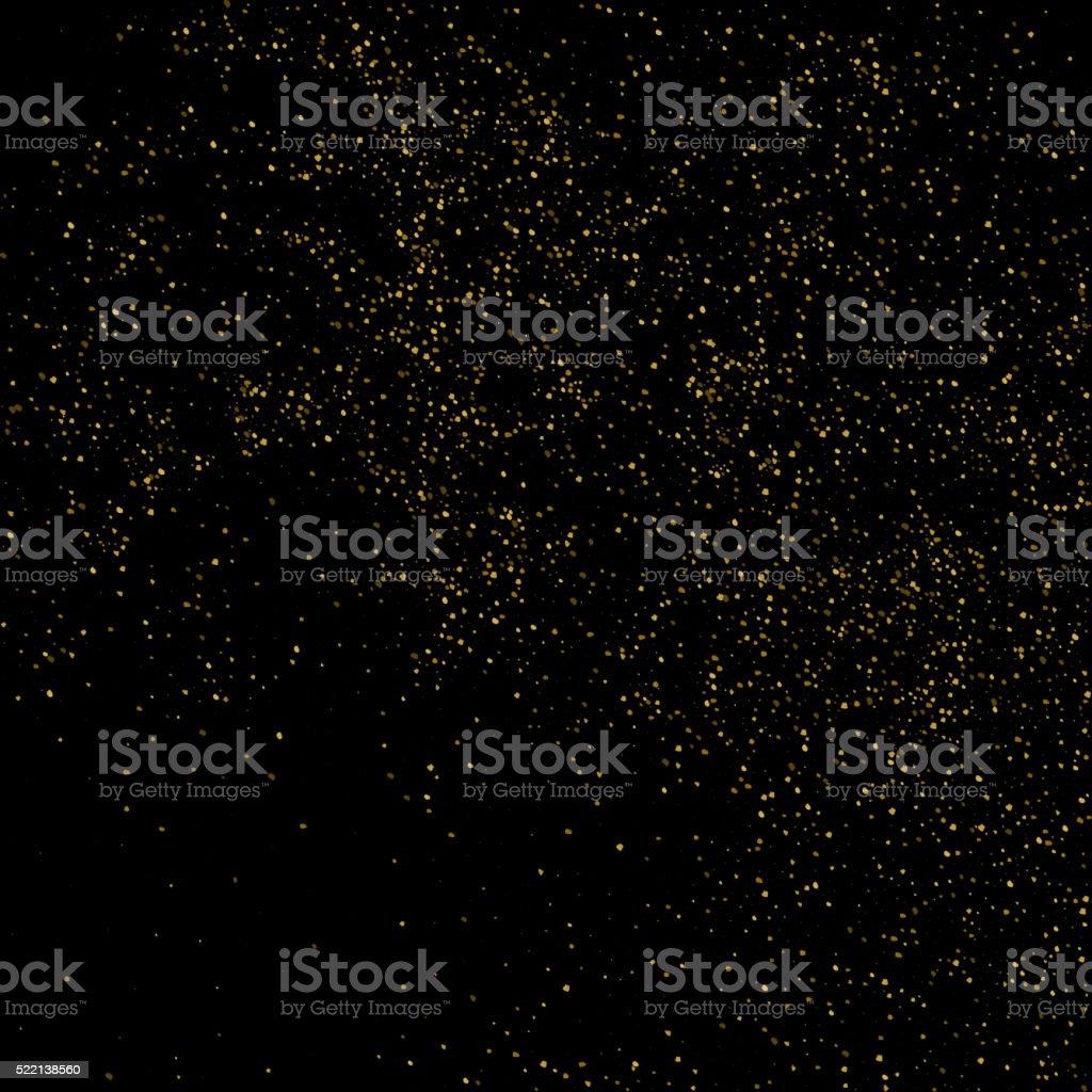 Vector glitter dust. Gold texture on a black background vector art illustration