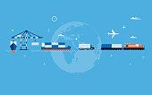 Vector flat global transportation concept illustration. EPS10 file.
