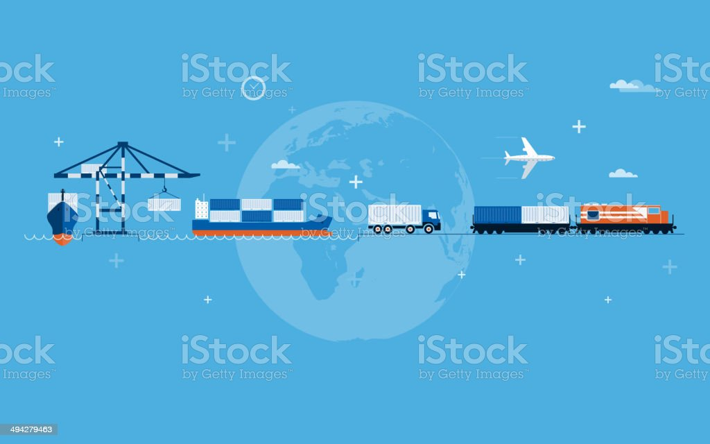 Vector global transportation worldwide concept vector art illustration