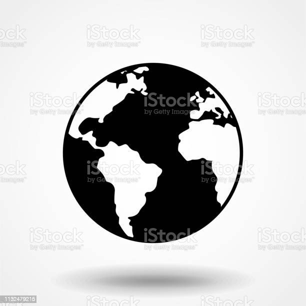 Vector Globe Icon Of The World - Arte vetorial de stock e mais imagens de Abstrato