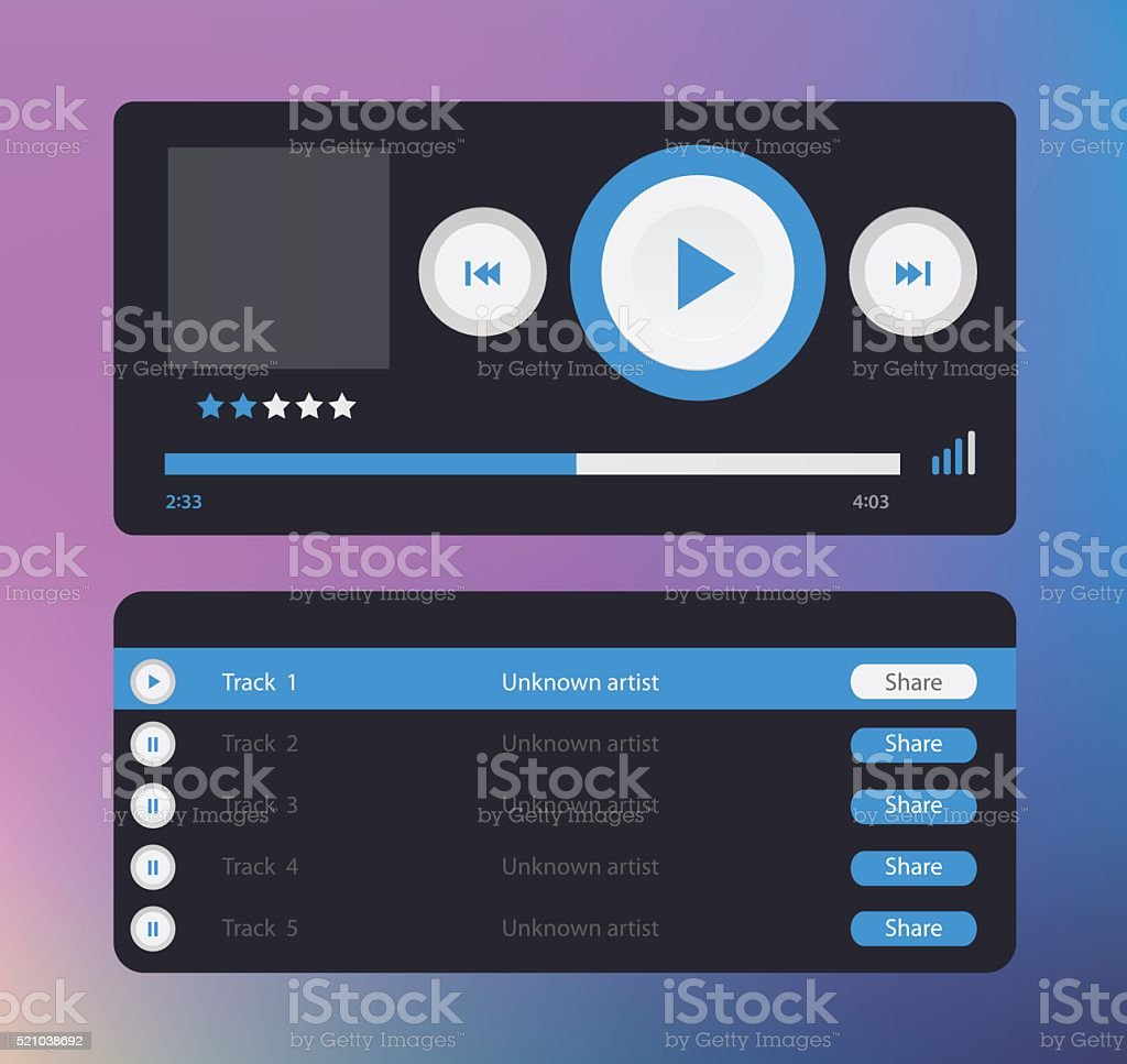 Vector glossy audio player with control navigation panel vector art illustration