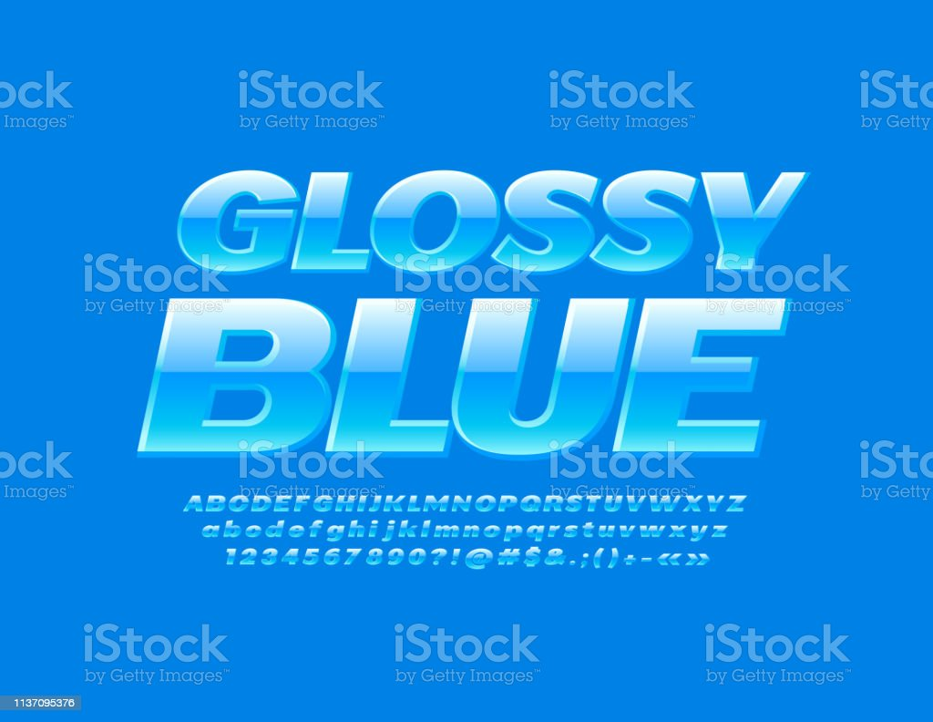 Vector Glossy Blue Font Stylish Alphabet Set Stock Illustration