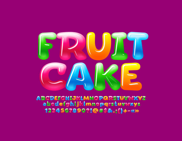Vector glossy colorful logo Fruit Cake with sweet Alphabet Letters set Jelly bright Font for Children jello stock illustrations