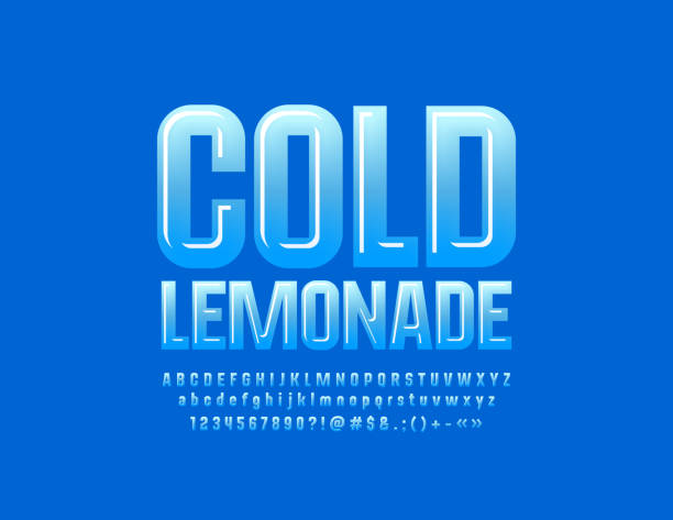 Vector glossy emblem Cold Lemonade with Blue Alphabet Modern Letters, Numbers and Symbols for Children Advertising, Marketing, Promotion ice stock illustrations