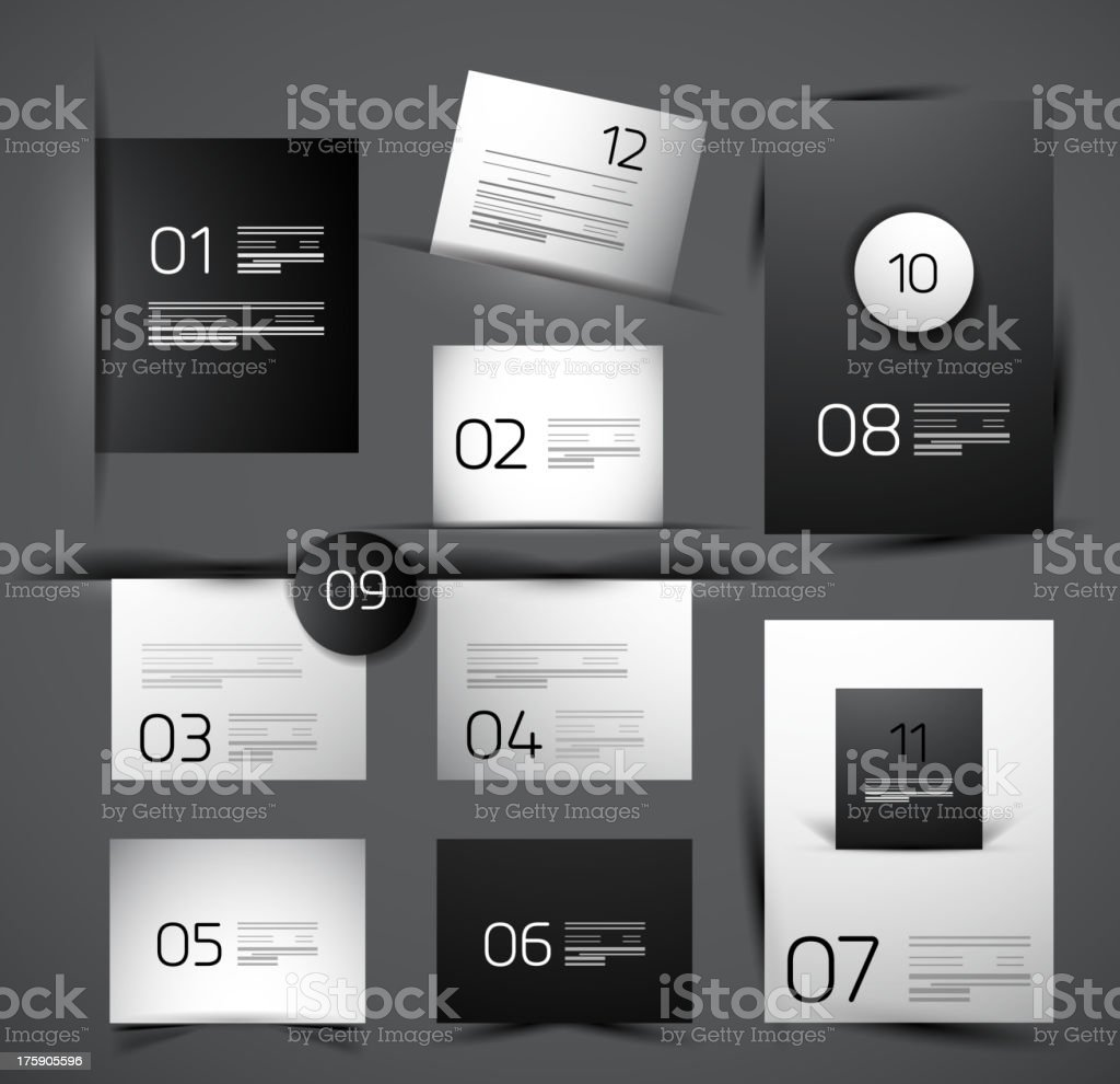Vector glossy numbered templates vector art illustration