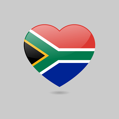 Vector Glossy South African Flag Heart