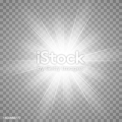 istock Vector glow light effect. Star burst isolated on transparent. 1304886272
