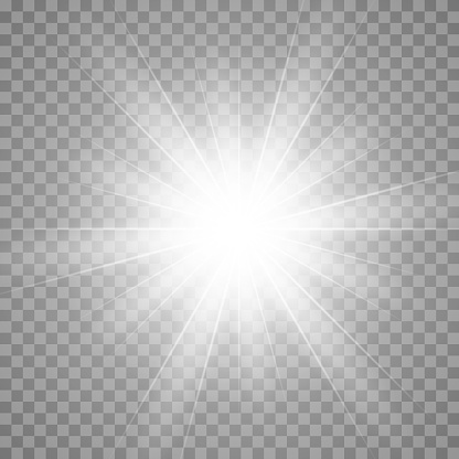 Vector shining glow light effect. Star burst effect with rays isolated on transparent.