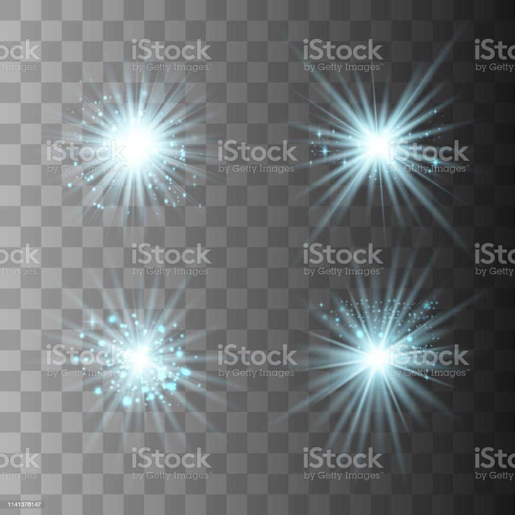 Vector glow lights. Cold stars set