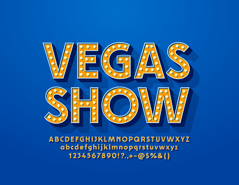 Vector glowing emblem Vegas Show. Illuminated Alphabet Letters, Numbers and Symbols