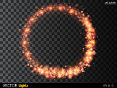 Vector glowing fire or red ring of shine particles.