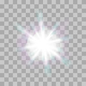 Vector glowing light bursts with sparkles on transparent background