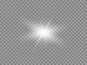 Vector glowing light effect. Shine, glare, flare, flash illustration. White star png on transparent.