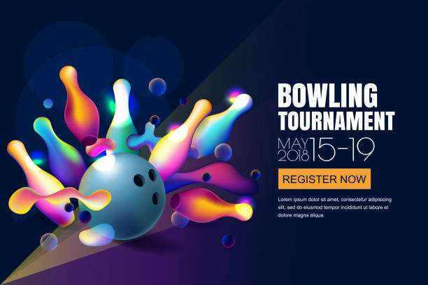 Vector glowing neon bowling tournament banner or poster with multicolor 3d bowling balls and pins. vector art illustration