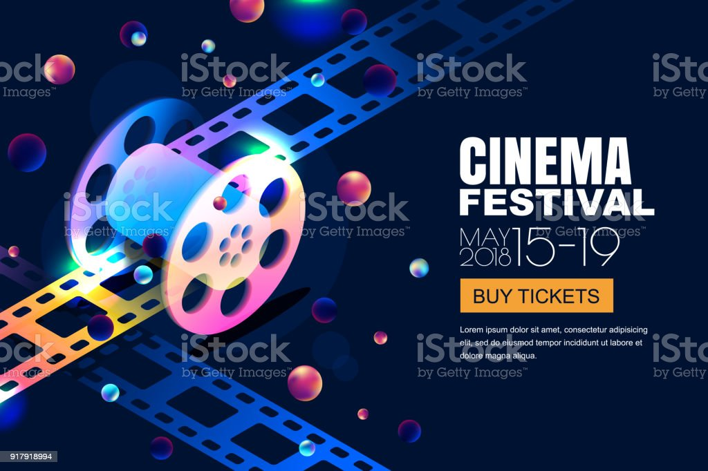 Vector glowing neon cinema festival banner. Film reel in 3d isometric style on abstract night cosmic sky background. royalty-free vector glowing neon cinema festival banner film reel in 3d isometric style on abstract night cosmic sky background stock illustration - download image now