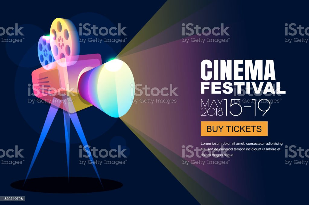 Vector glowing neon cinema festival poster or banner background. Colorful 3d style movie camera with film spotlight. royalty-free vector glowing neon cinema festival poster or banner background colorful 3d style movie camera with film spotlight stock illustration - download image now