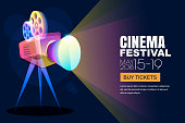 Vector glowing neon cinema festival poster or banner background. Colorful 3d style movie camera with film spotlight.