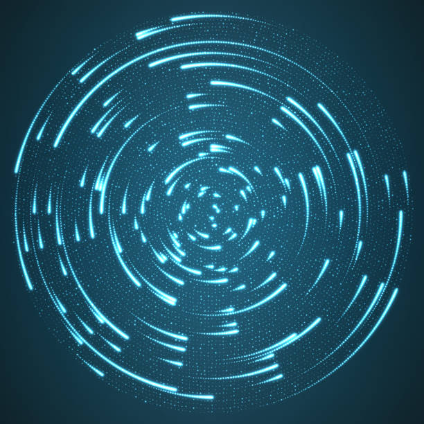 vector glowing particles flying around the center leaving trails. radar like blue background. spinnig shining comets. elegant modern geometric wallpaper. - electronics stock illustrations, clip art, cartoons, & icons