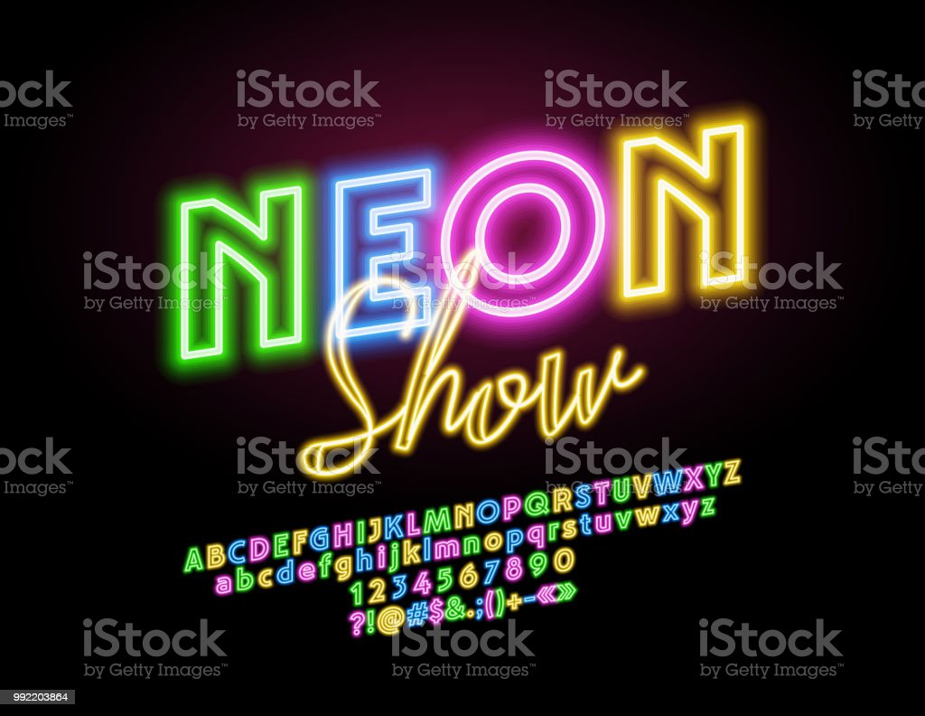 Vector glowing sign Neon Show with Alphabet vector art illustration