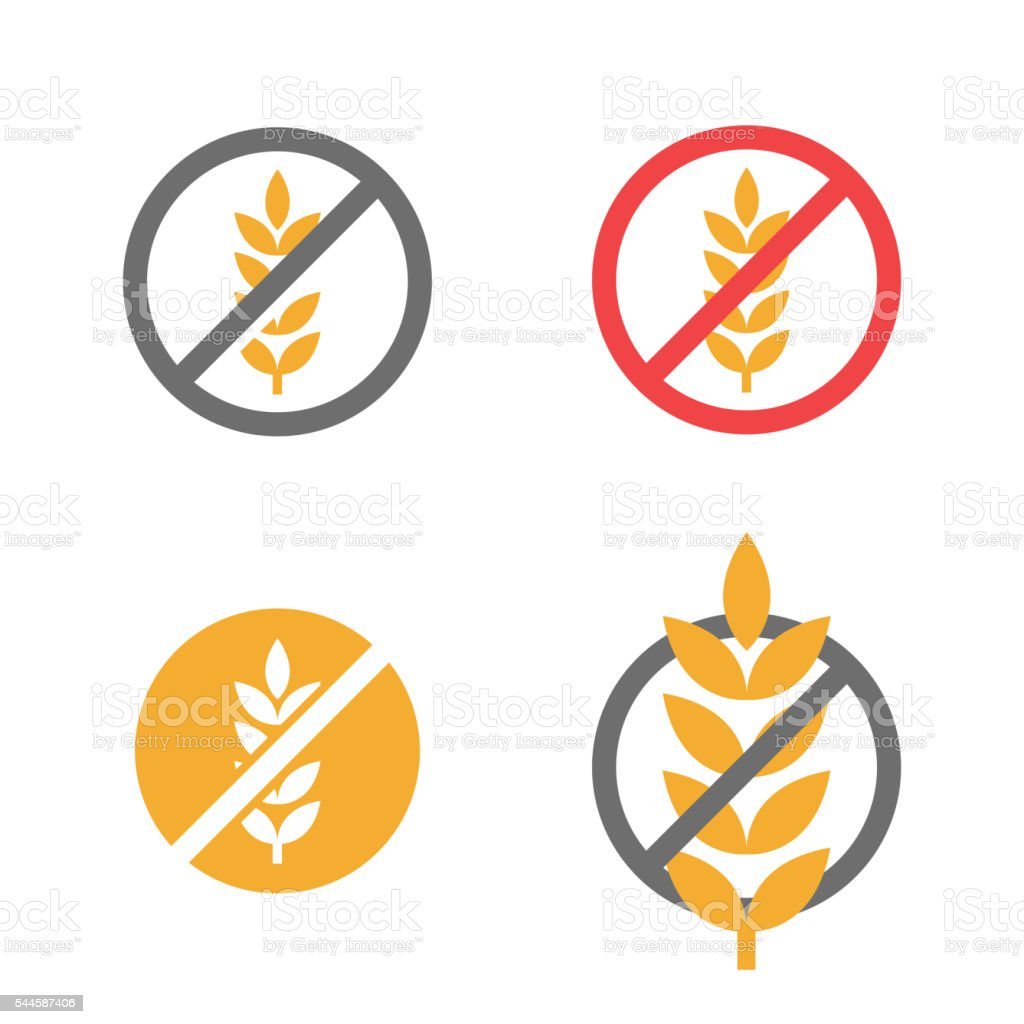 Vector gluten free grain icons set vector art illustration