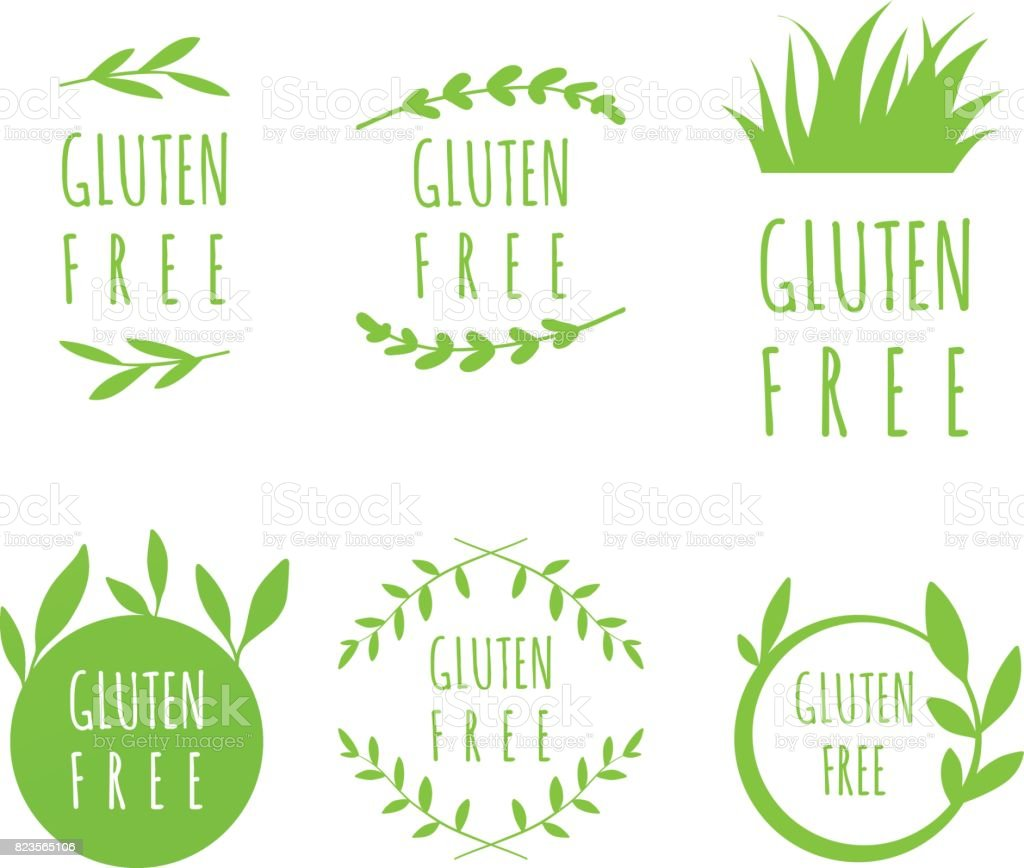 Vector Gluten Free labels, stickers, tags and shapes for natural, organic food, on white background. Eco stains set vector art illustration