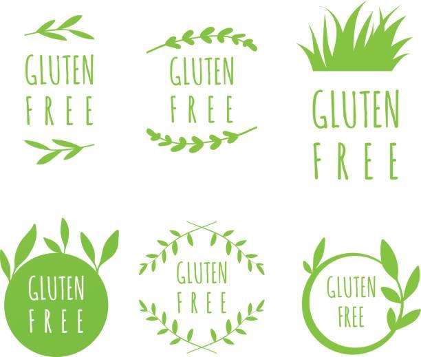 ilustraciones, imágenes clip art, dibujos animados e iconos de stock de etiquetas gluten free vector, pegatinas, etiquetas y formas de alimentos naturales, orgánicos, sobre fondo blanco. conjunto de manchas de eco - sin gluten