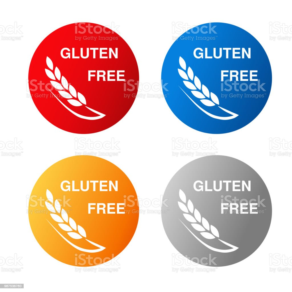 Vector Gluten Free Symbols Isolated On White Background Silhouettes