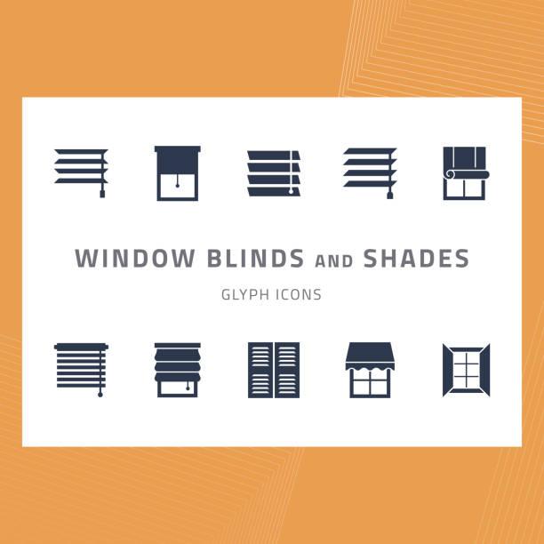 ikony glifów wektorowych ustawiają rolety okienne i odcienie - store stock illustrations