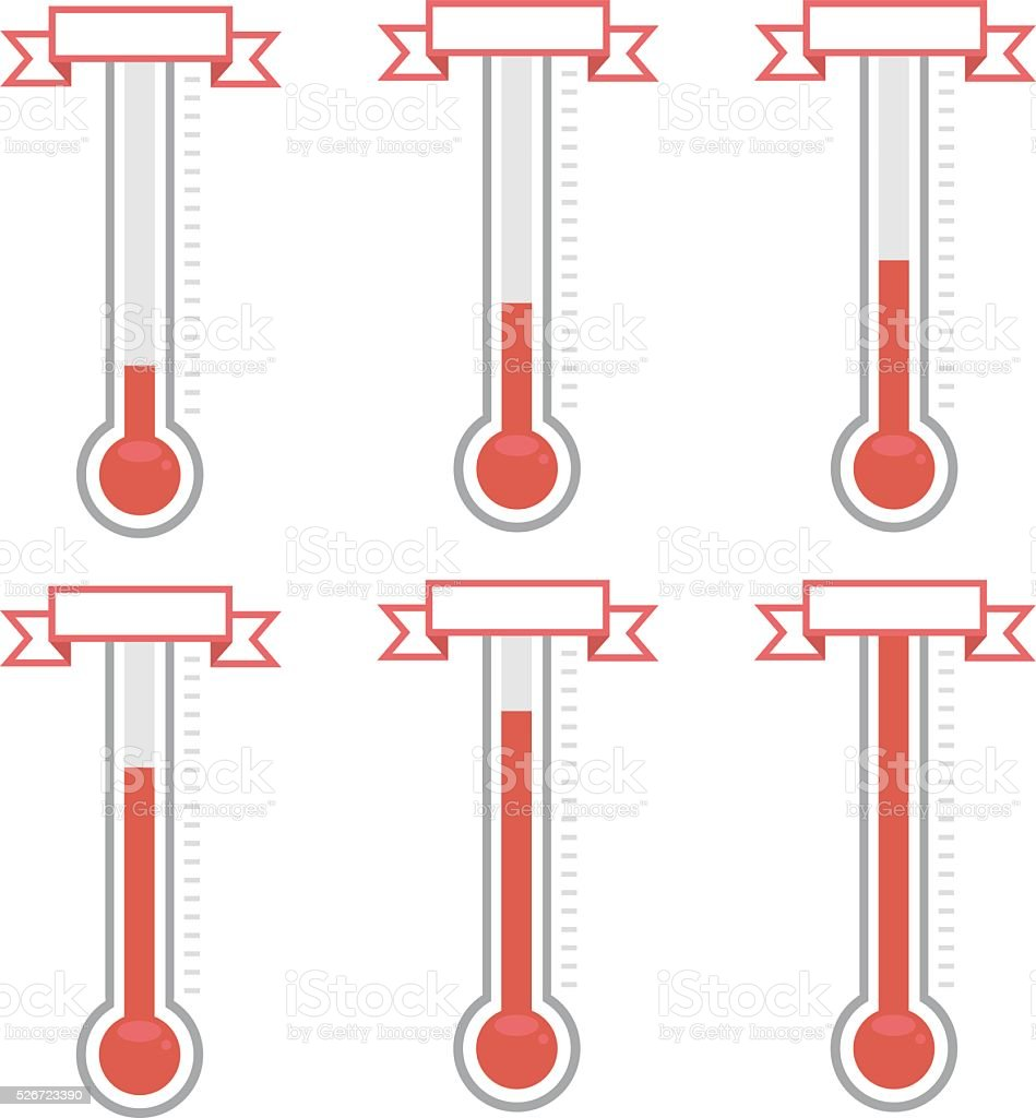 vector goal thermometers at different levels vector art illustration
