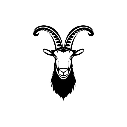 Vector goat head, face  for retro hipster icons, emblems, badges, labels template and t-shirt vintage design element. Isolated on white background