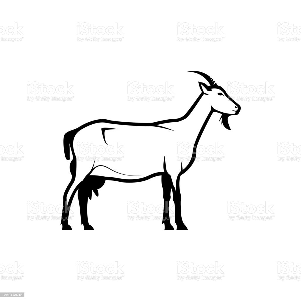 Vector Goat Silhouette View Side For Retro Icons Emblems Badges ...