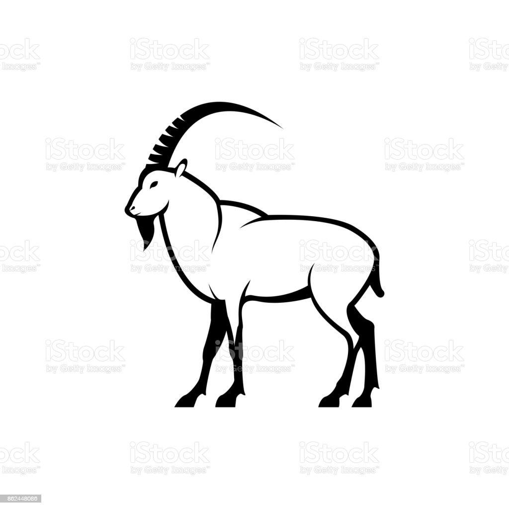 Vector chèvre silhouette vue côté pour icônes rétro, emblèmes, insignes, élément de design vintage modèle étiquettes. Isolé sur fond blanc - Illustration vectorielle