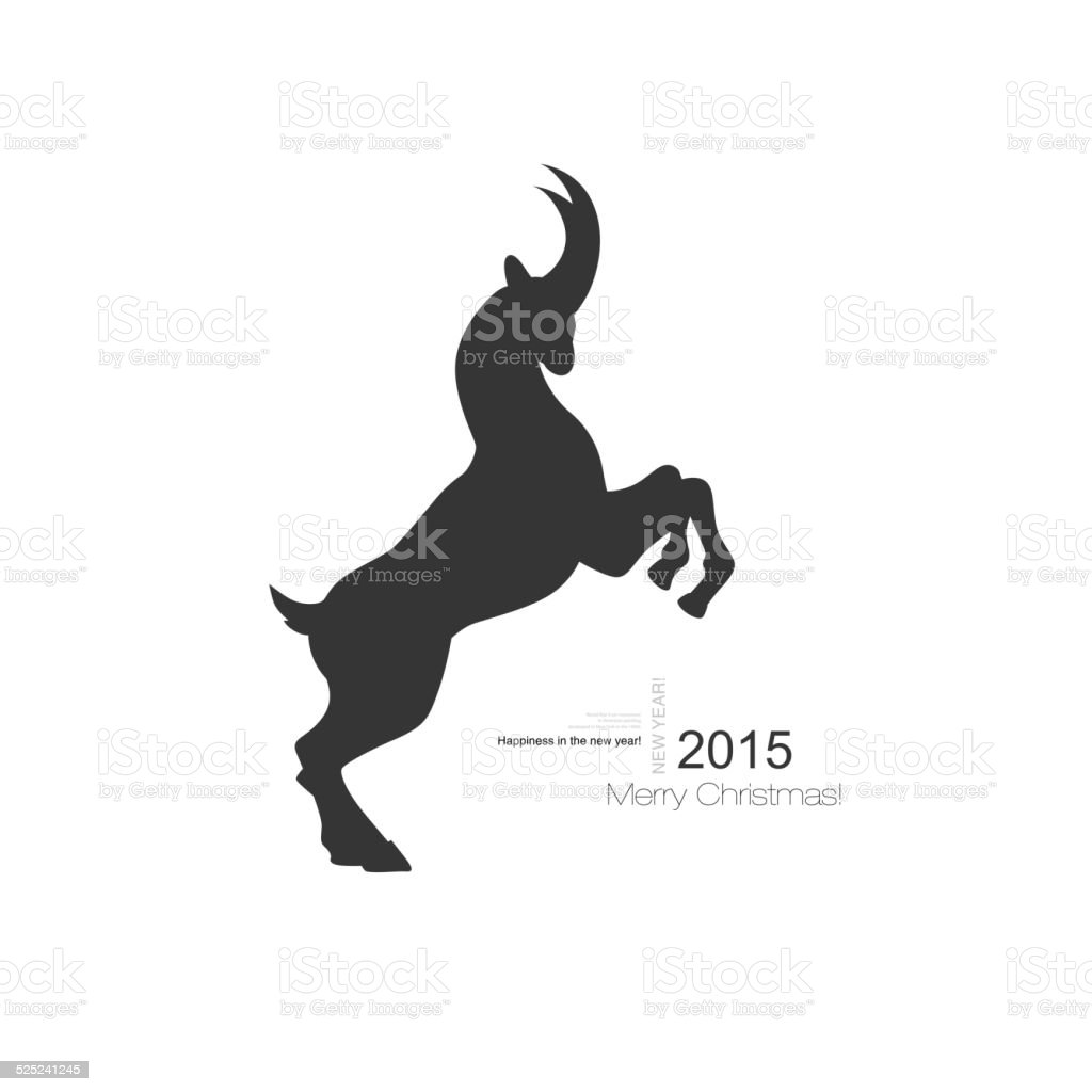 Vector goat symbol with black profile silhouette of a long vector art illustration