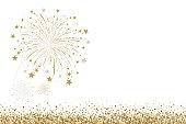 Vector gold and silver firework design on white background