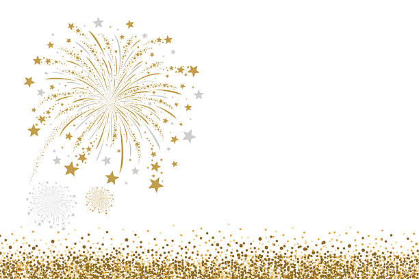 Vector gold and silver firework design on white background Vector gold and silver firework design on white background fireworks stock illustrations