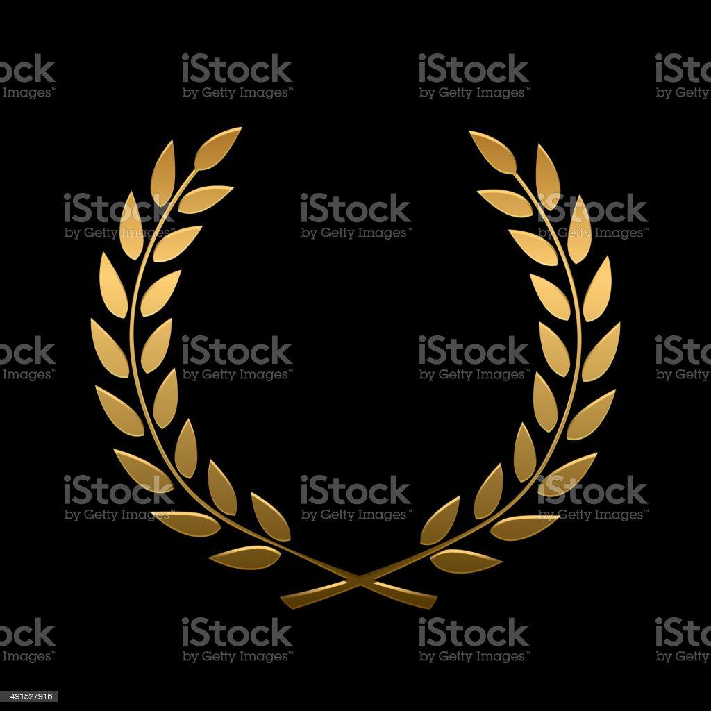 Vector gold award laurel wreath vector art illustration