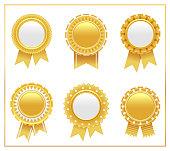 Vector illustration of gold award rosette set 1