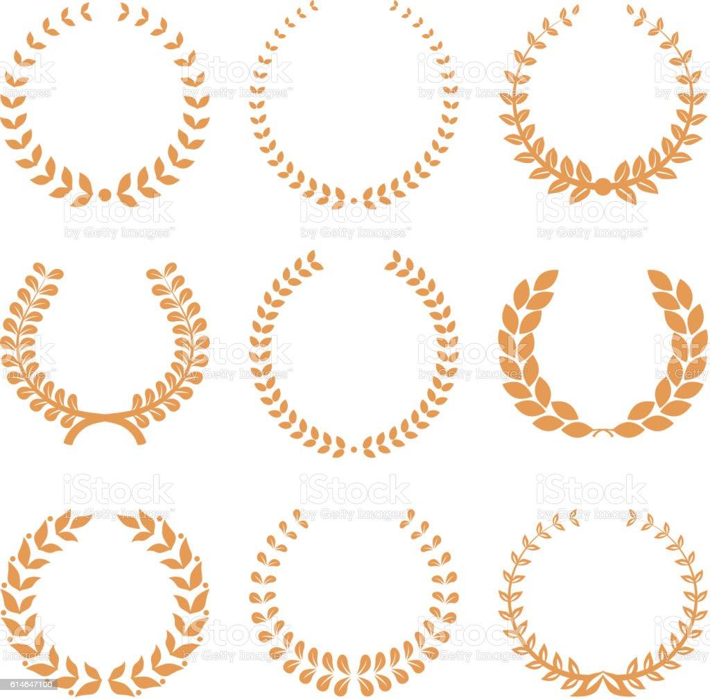 Vector gold award wreaths, laurel on white background. Vector vector art illustration