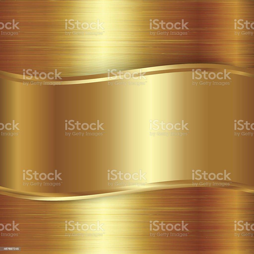 Vetor dourado metálico escovado placa de fundo - ilustração de arte em vetor