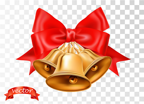 Vector gold Christmas bells, bows and red ribbon isolated on transparent background. Xmas sale decorative elements with vertical ribbons for page, wrap decoration, greeting card and web design