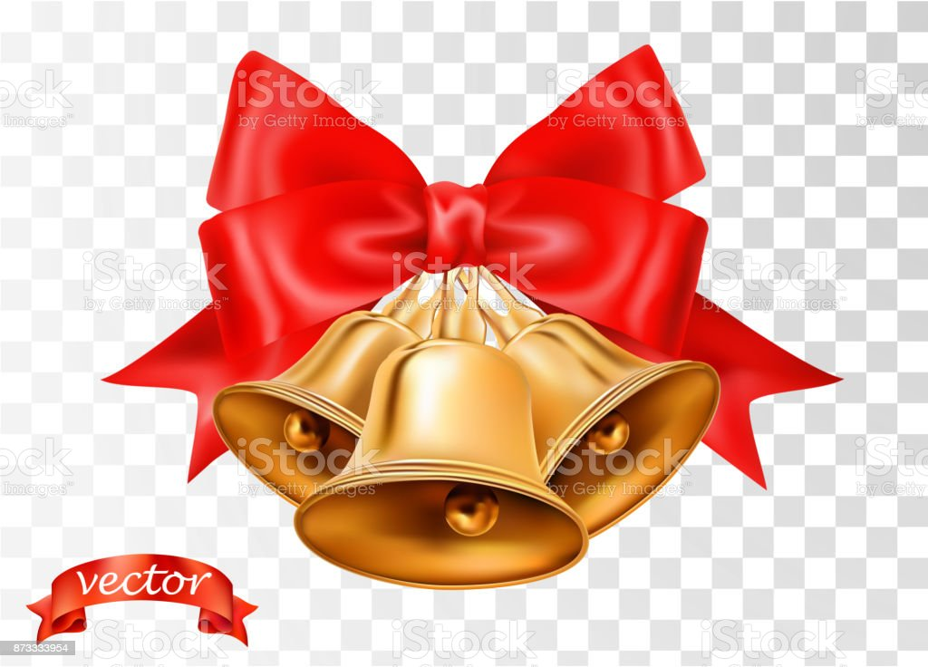 Vector gold Christmas bells, bows and red ribbon isolated on transparent background. Xmas sale decorative elements with vertical ribbons for page, wrap decoration, greeting card and web design vector art illustration