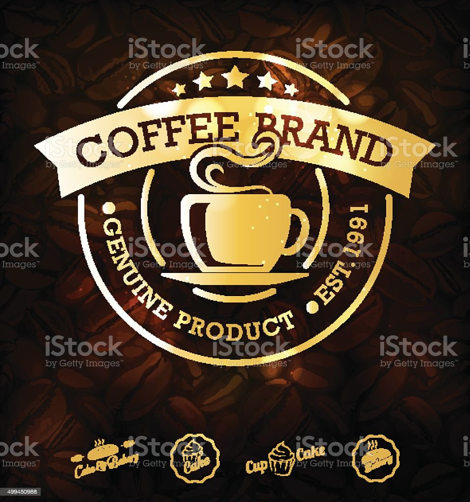 Vector Gold Coffee Labels vector art illustration