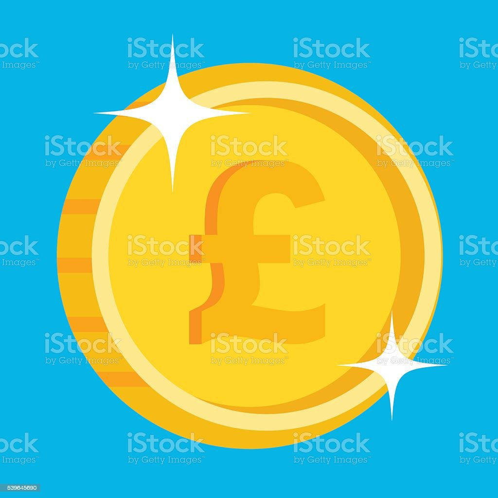 Vector gold coin icon with british pound symbol. British currency vector art illustration